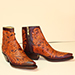 full hand tooled botine cognac