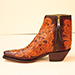 custom full hand tooled botine with inner zipper