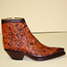 cognac full hand tooled zipper botine style cowboy boot