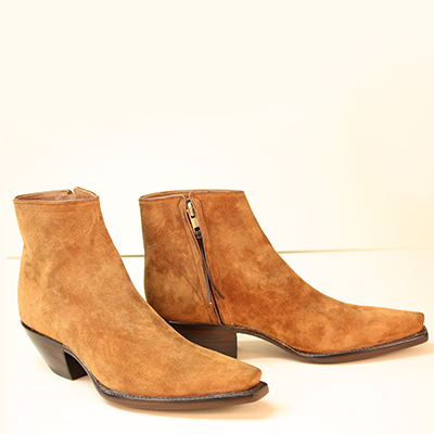 custom made botine boot rought out suede cognac with inside zipper