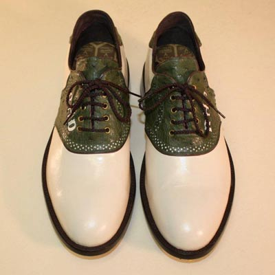 Ivory Kangaroo with Green Ostrich Custom Golf Shoe