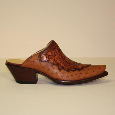 Custom Cognac Ostrich Leaf Slip-On Mule