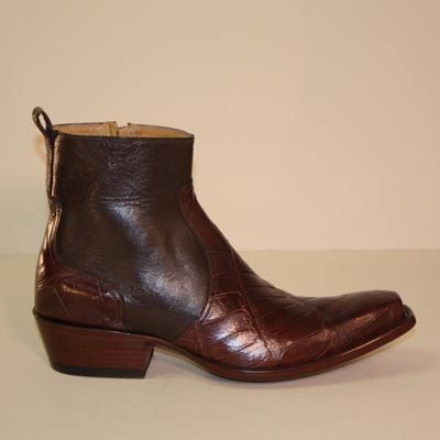 Cognac Brown Alligator Belly Men's Custom Ankle Boot