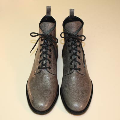 Custom Men's Shoe Gray Bull Shoulder Lace-Up