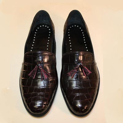 Black Cherry Alligator Belly Custom Men's Tassel Loafer