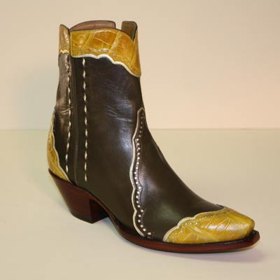 Custom Olive Green Calf w Yellow Alligator Belly Botine